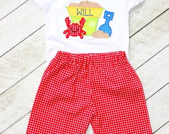 boys summer outfit boys red gingham shorts with sandbucket and crab shirt  little boy shorts outfit summer clothing beach outfit