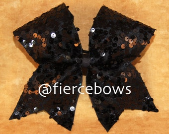 "Black ""Rain"" Sequin Cheer Bow"