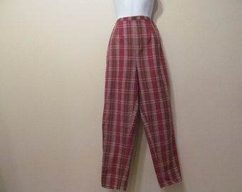 1950's Red Plaid Pants Slacks Capris Waist 25 Inches Hips 38 inches Label By Carol Brent