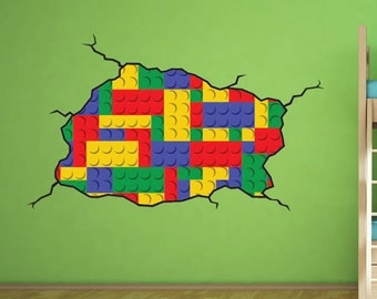 Lego style wall decal - Kids Bedroom Lego Room Decoration Vinyl Wall Decal - Handmade and designed Not associated with Lego Brand