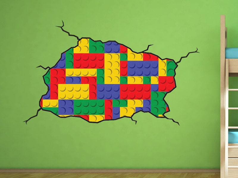 zoom. Lego style wall decal Kids Bedroom Lego Room Decoration