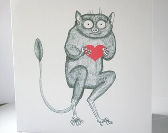 Timothy the Tarsier heart valentines card