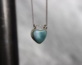 Heart Larimar Pendant Necklace