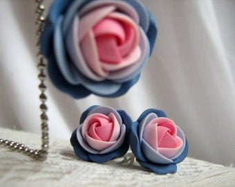 Polymer clay jewelry set - Shades of pink and blue rose flower pendant with stainless steel ball chain and stud earrings