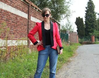 women slim fit red blazer, red  jacket, steampunk clothing,  tailored red blazer