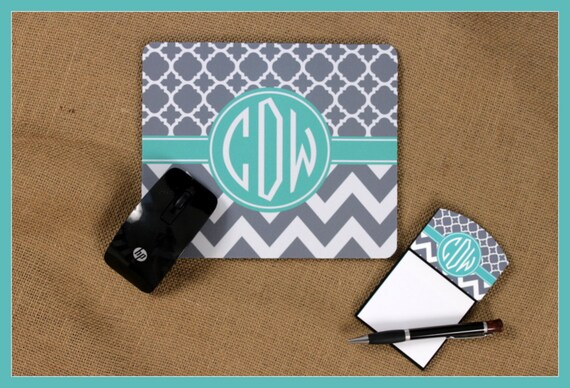 mouse pad sticky note holder monogrammed gifts personalized