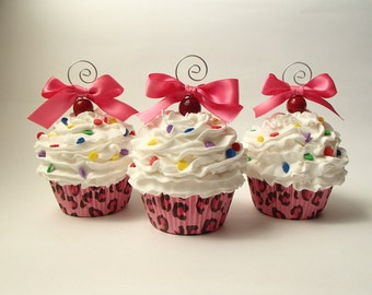 Cupcake Ornament -Pink Leporard Faux Cupcake Ornament with White Frosting and Chocolate Sprinkles