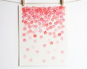 Cherry blossom confetti • pink and coral ombre • block printed art