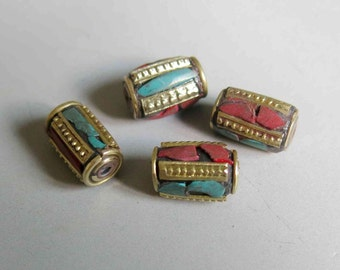 2pcs Nepal Tibetan Brass Bead With Turquoise Coral Inlay 13mm x 9mm - A429