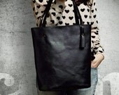 Shopper bag M black / shopper tote bag - oversize / large - vegan / faux leather - shoulder bag - with zipper / pockets - everyday bag