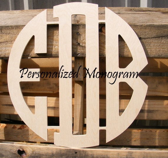 36 inch wooden circle cut monogram connected 3 letters for 36 inch wooden letters