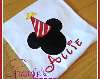 Personalized Mickey or Minnie Mouse Birthday Appliqued Shirt T-Shirt