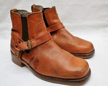"Rare 80's Vintage ""DURANGO"" Distressed Tan Leather Ankle Boots Sz: 10.5 (Men's Exclusive)"