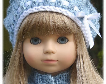 Eyelet Beret, PDF Doll Clothes a stylish beret knitting pattern designed for American Girl Dolls by Debonair Designs