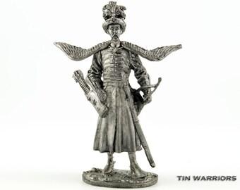 Toy soldier Polish cavalryman, 17th century tin sculpture. Collection 54mm 1/32 miniature figurine