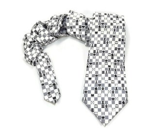 Chess tie, chess accessory, mens chess accessory, chess necktie, game necktie, black and white tie, chess game, chess gift, mens chess gift