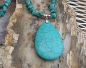 Howlite and Turquoise pendant necklace