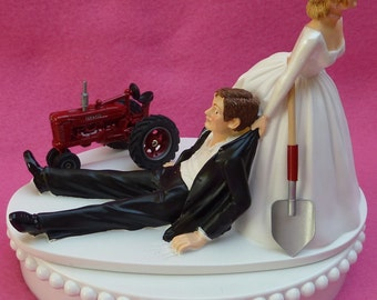 Wedding Cake Topper International Harvester IH Red Farmall Farm Tractor Themed w/ Bridal Garter Farmer Farming Humorous Groom Bride Funny