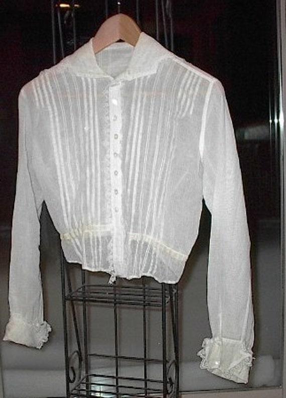 Antique Edwardian White Crochet Lace Blouse Shirtwaist 113
