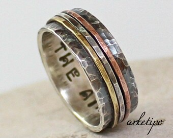 Personalized sterling silver Ring - Handmade Wedding Band - Engagement Ring -  Gift for her, him, mother, husband, wife.