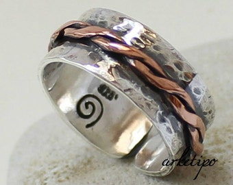 Personalized Adjustable Ring of sterling silver and copper.. Sterling Silver Band.. Handmade Ring.. Amazing Gift..
