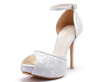 White Satin Platfrom Wedding Heel with Ankle Strap, White Bridal Platform Heel with Lace Overlay, White Bridal Shoes