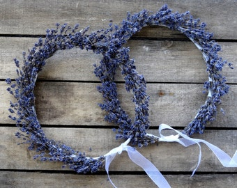 Dried Lavender Bridal Flower Crown - Wedding Crown - For Brides, For Bridesmaids, For Flower Girls - Bridal Accessories - SET OF TWO