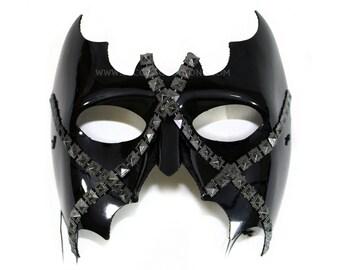 Myth Studded Glossy Black Men's Masquerade Mask - A-2223-E