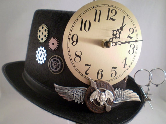 Steampunk Hat, Black Top Hat with Working Clock & Loupes,