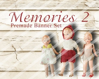 """Banner Set - Shop banner set - Premade Banner Set - Graphic Banners - Facebook Cover - Avatars - Bisiness Card - """"Memories 2"""""""