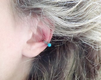 Turquoise earring cuff, blue turquoise ear cuff jewelry