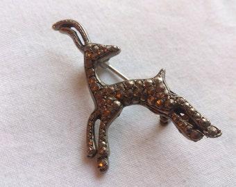 Vintage marcasite deer brooch