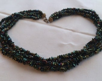 vintage four strand petrol bead necklace