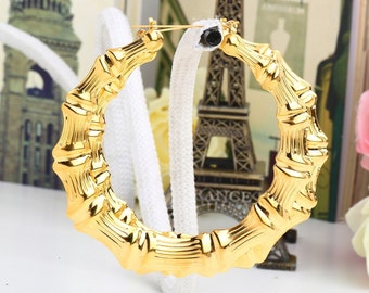 3 inch Large Hoop Earrings - Gold/Bamboo Style  - Gift for Her Fashion Accessories Women Wear