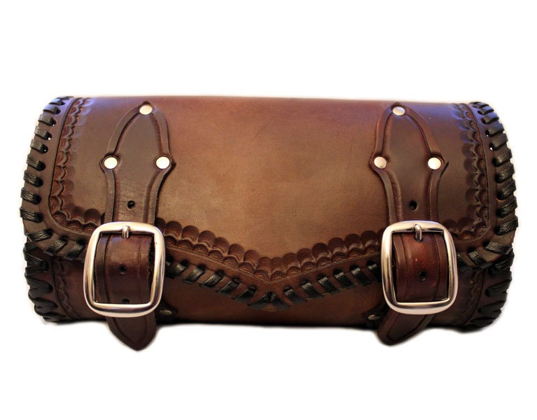 Custom Hand Tooled Leather Motorcycle Tool Bag Brown Leather