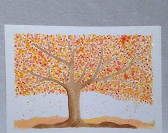 Autumn Arrives Original Watercolor by SunChickie Arts