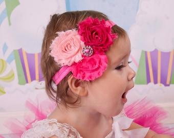 Pink Shabby Chic Headband  Newborn headband baby headbands teen headbands adult headbands