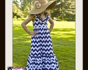 Beautiful Baby to Big Girls Navy Chevron Maxi Halter Dress