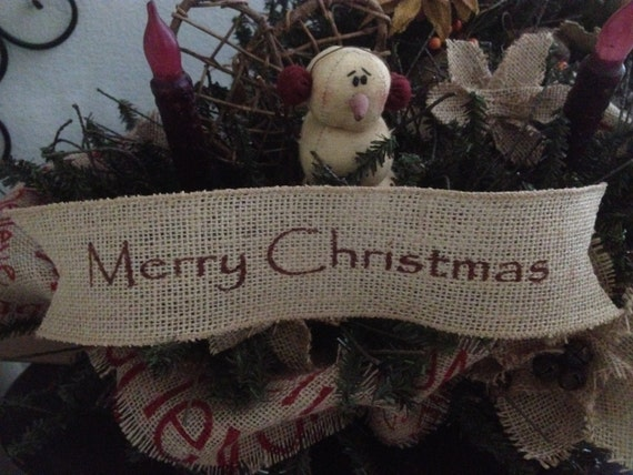 Primitive Merry Christmas Wired Burlap Ribbon Banner Ornament Garland