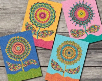 """Fabby Flowers Blank Note Cards-""""Celebrate"""" Set of 4-Eden Colors"""