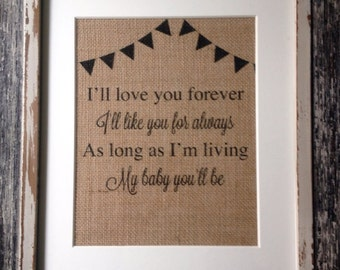 """GIFT """"I Love You Forever"""" Bunting Printed Burlap for Nursery or Children's Room"""