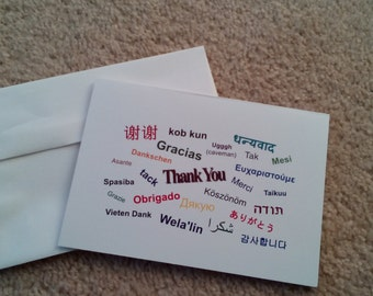 Thank you card in different languages