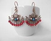 Boho style earrings, fan earrings with red beads, hippie chic jewelry