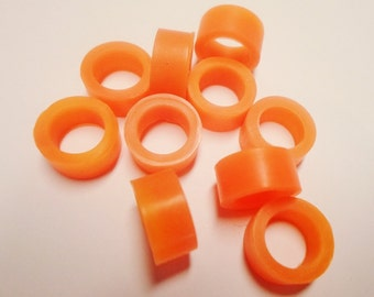 SALE: 5 Thick and Wide Fluorescent Orange 10mm Rubber Oh Rings, leather bracelet finding, jewelry supply, craft supplies