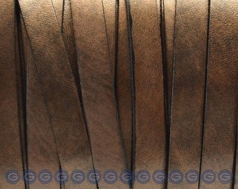2ft Metallic Bronze 10mm Flat leather for flat leather bracelets, supplies