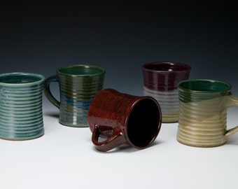 Wheel-thrown pottery mugs