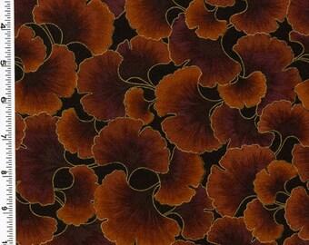 A rich chocolate brown ginko design.