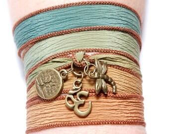 Hand Dyed Silk Ribbon Bracelet  Yoga Jewelry Silk Wrap Bracelet, Om Jewelry, Wrapped Bracelet Tree of Life Dragonfly  Christmas Gift