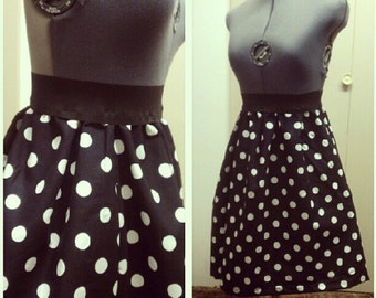 High Waisted Polka Dot Skirt (Red OR Black, other colors avail upon request)