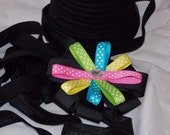 10 yards Black Fold Over Elastic FOE 5/8 inch  - DIY Hair ties and Headbands Soft Stretchy No Pull Fabric Material